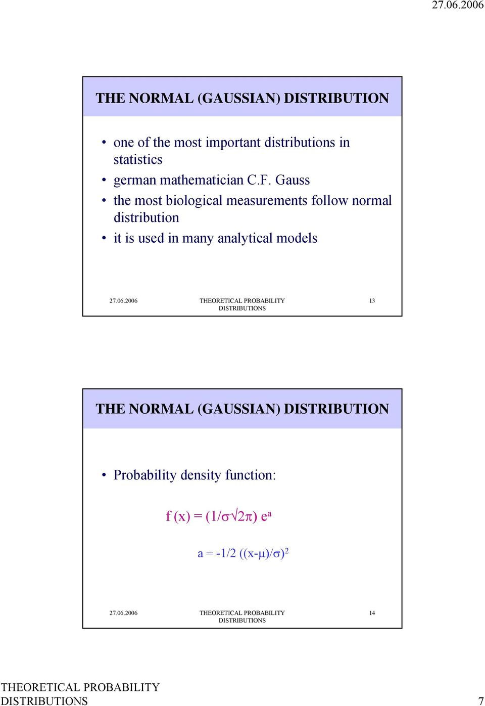 Gauss the most biological measurements follow normal distribution it is used in