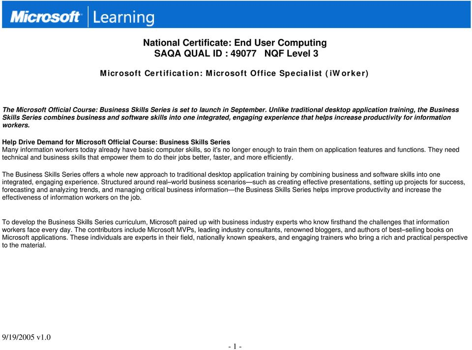 Aligningassociating Microsoft Certifications To National