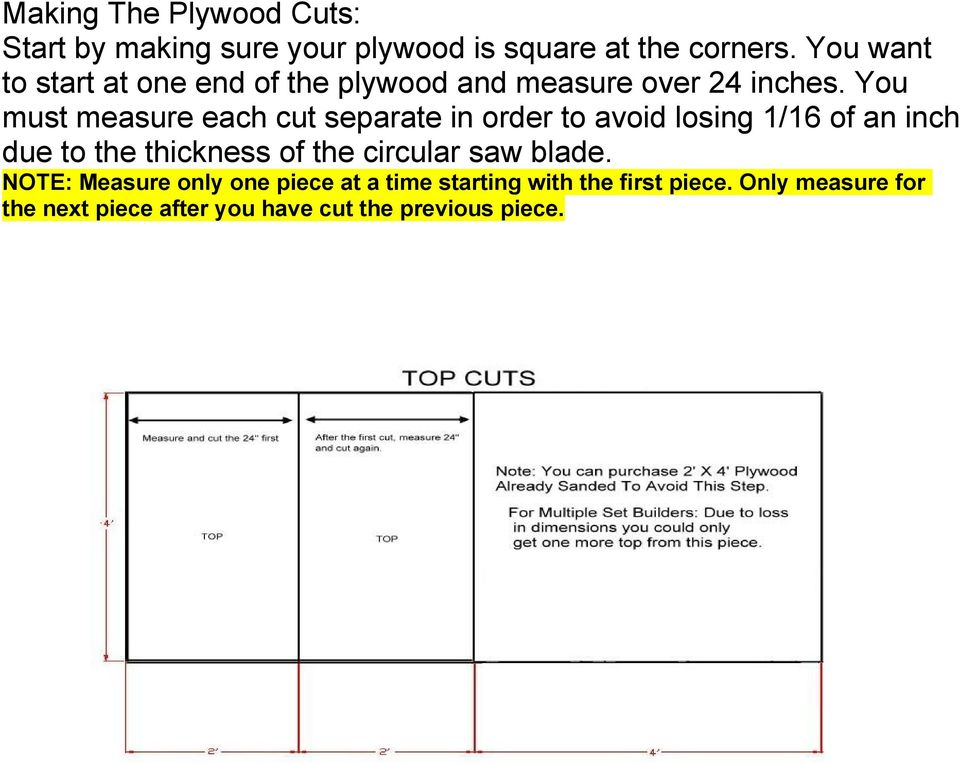 You must measure each cut separate in order to avoid losing 1/16 of an inch due to the thickness of the