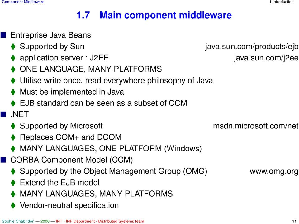 com/j2ee ONE LANGUAGE, MANY PLATFORMS Utilise write once, read everywhere philosophy of Java Must be implemented in Java EJB standard can be seen as a subset of CCM.