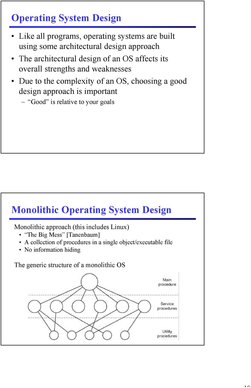 important Good is relative to your goals Monolithic Operating System Design Monolithic approach (this includes Linux) The Big Mess