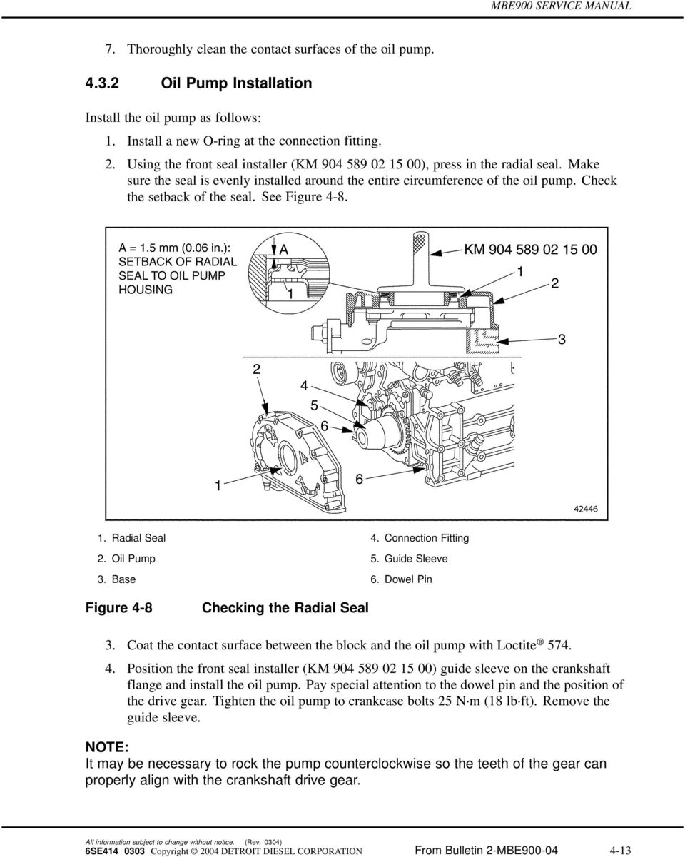 See Figure 4-8. 1. Radial Seal 4. Connection Fitting 2. Oil Pump 5. Guide Sleeve 3. Base 6. Dowel Pin Figure 4-8 Checking the Radial Seal 3.
