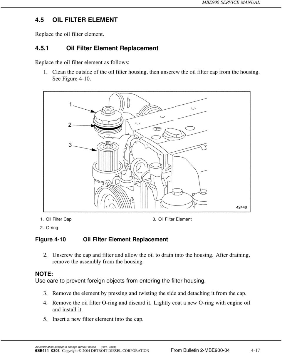 O-ring Figure 4-10 Oil Filter Element Replacement 2. Unscrew the cap and filter and allow the oil to drain into the housing. After draining, remove the assembly from the housing.