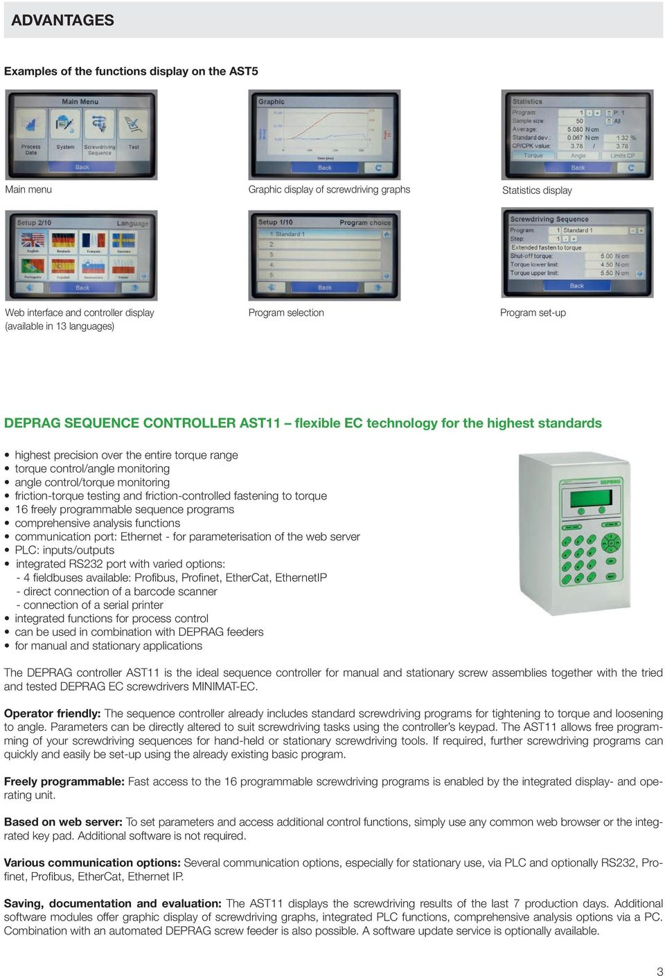 control/torque monitoring friction-torque testing and friction-controlled fastening to torque 16 freely programmable sequence programs comprehensive analysis functions communication port: Ethernet -