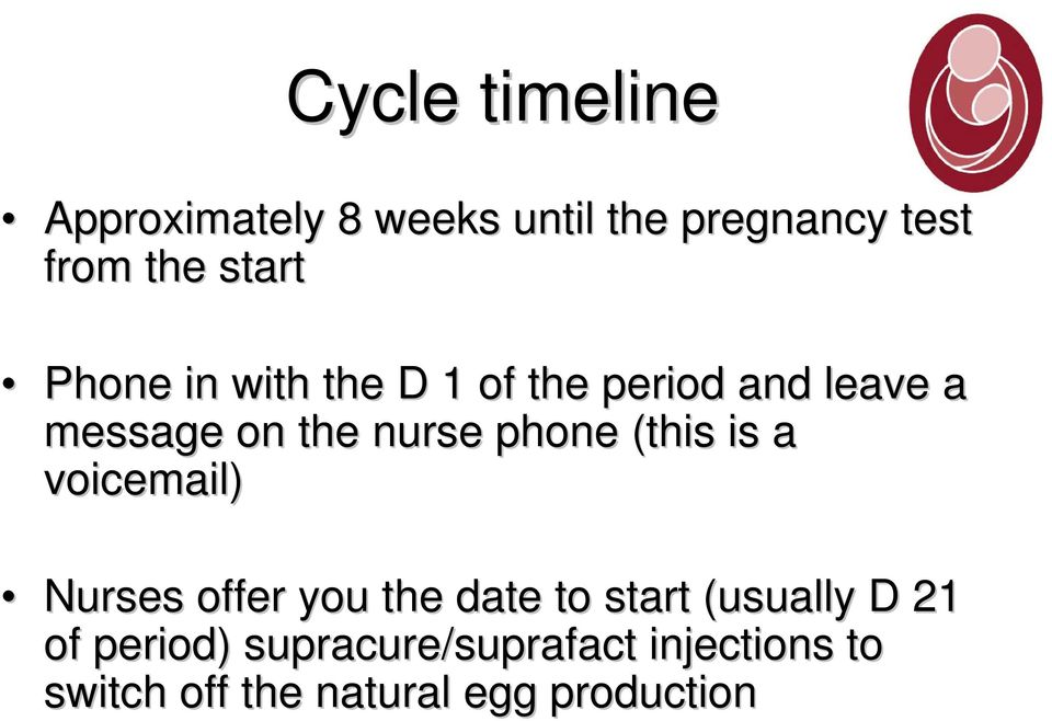 (this is a voicemail) Nurses offer you the date to start (usually D 21 of