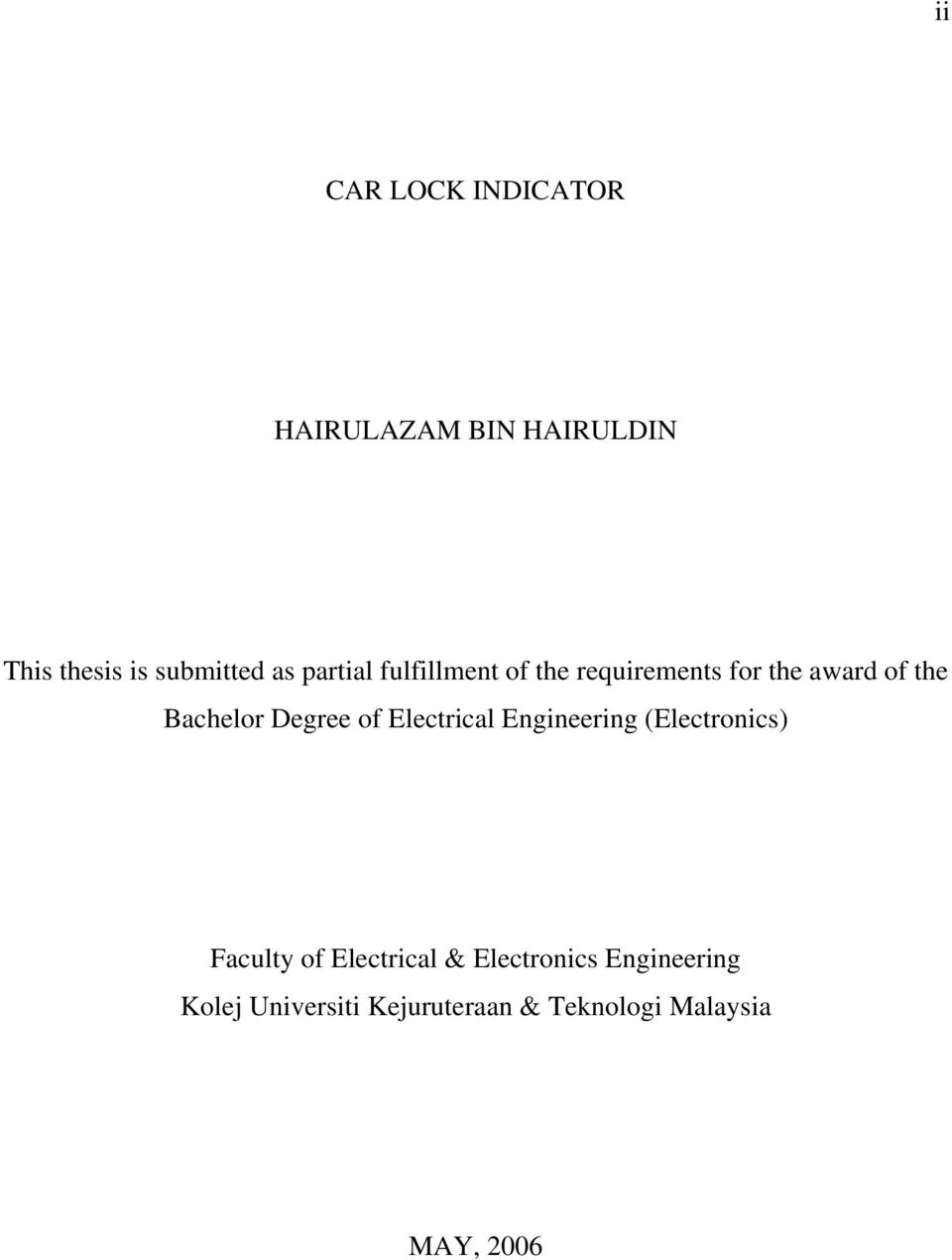 Degree of Electrical Engineering (Electronics) Faculty of Electrical &