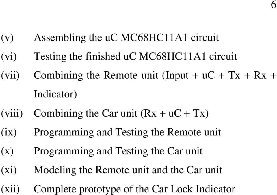 uc + Tx) (ix) Programming and Testing the Remote unit (x) Programming and Testing the Car unit