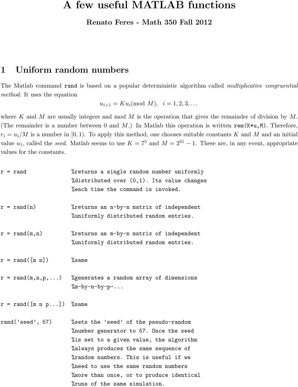 A few useful MATLAB functions - PDF