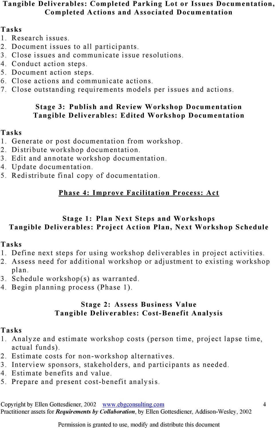 Close outstanding requirements models per issues and actions. Stage 3: Publish and Review Workshop Documentation Tangible Deliverables: Edited Workshop Documentation 1.
