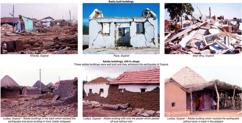 resisted the earthquake and stone building in front, totally collapsed Ludiya, Gujarat Adobe building with only the