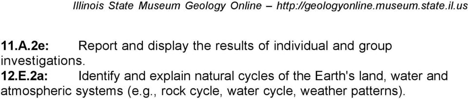 2a: Identify and explain natural cycles of the Earth's