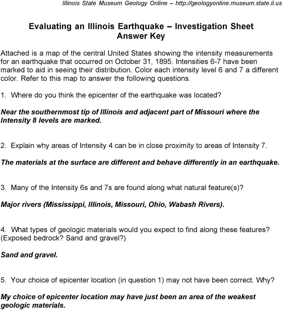Where do you think the epicenter of the earthquake was located? Near the southernmost tip of Illinois and adjacent part of Missouri where the Intensity 8 levels are marked. 2.