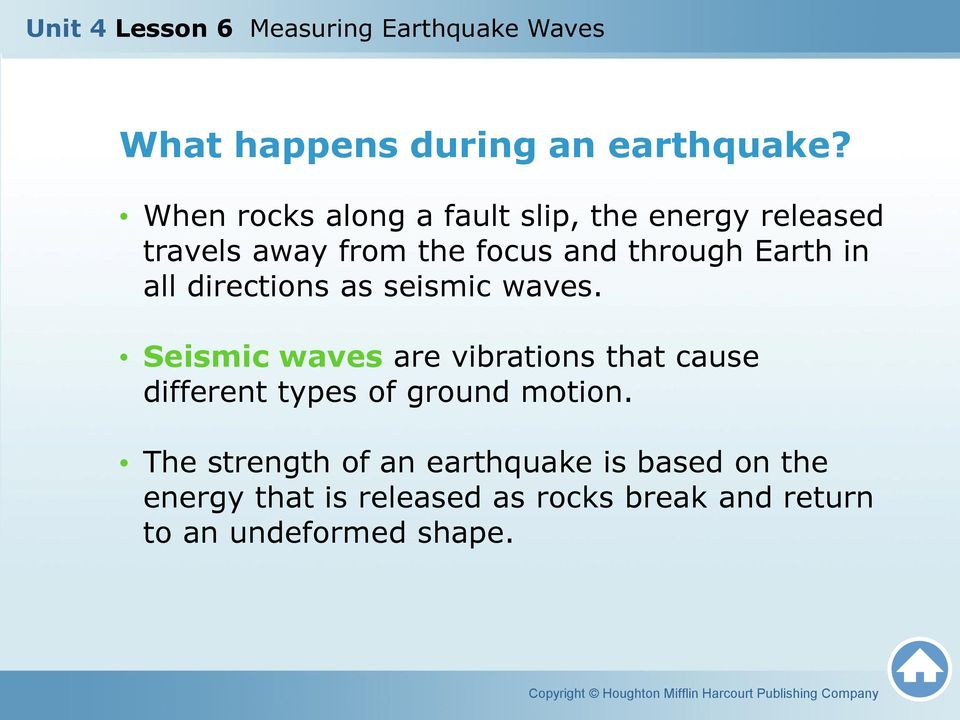 Earth in all directions as seismic waves.