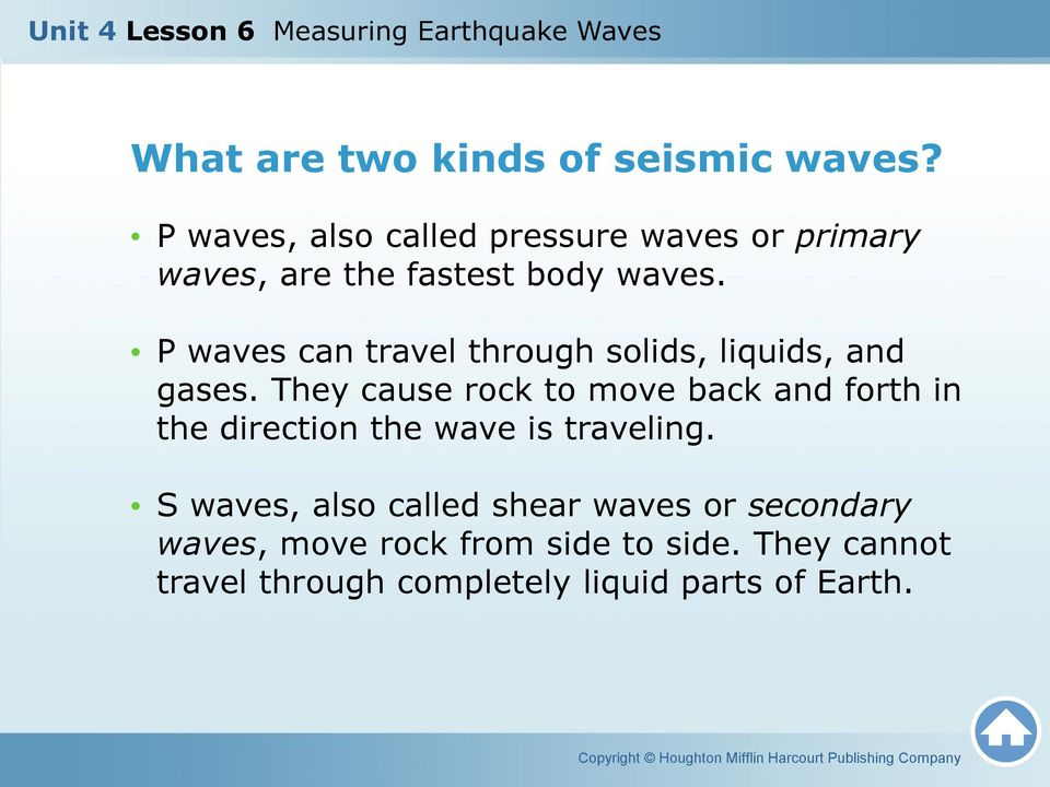 P waves can travel through solids, liquids, and gases.
