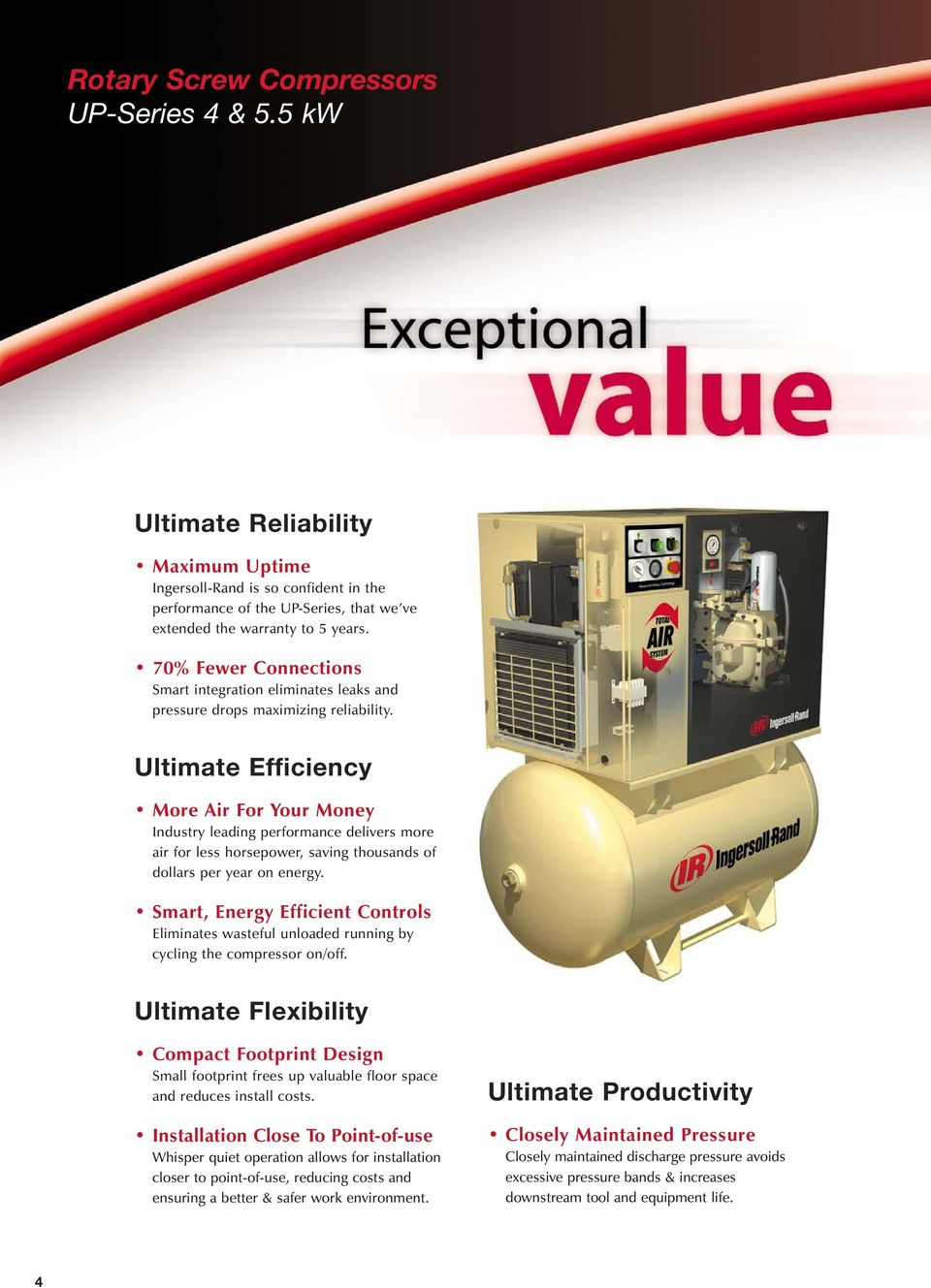 Ultimate Efficiency More Air For Your Money Industry leading performance delivers more air for less horsepower, saving thousands of dollars per year on energy.