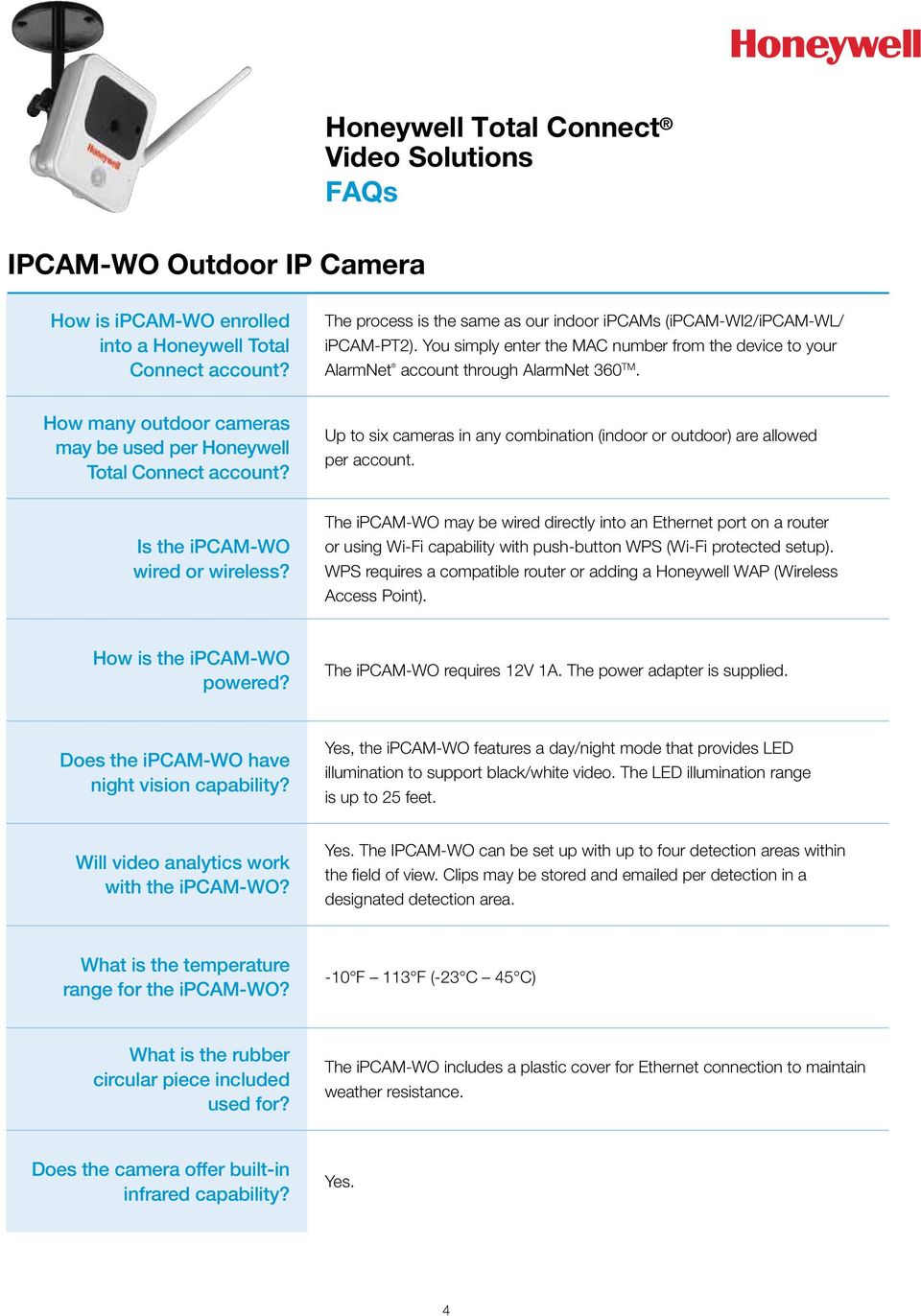 Up to six cameras in any combination (indoor or outdoor) are allowed per account. Is the ipcam-wo wired or wireless?