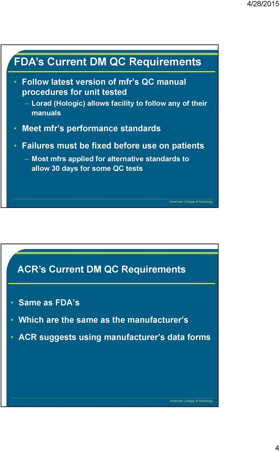 before use on patients Most mfrs applied for alternative standards to allow 30 days for some QC tests ACR s