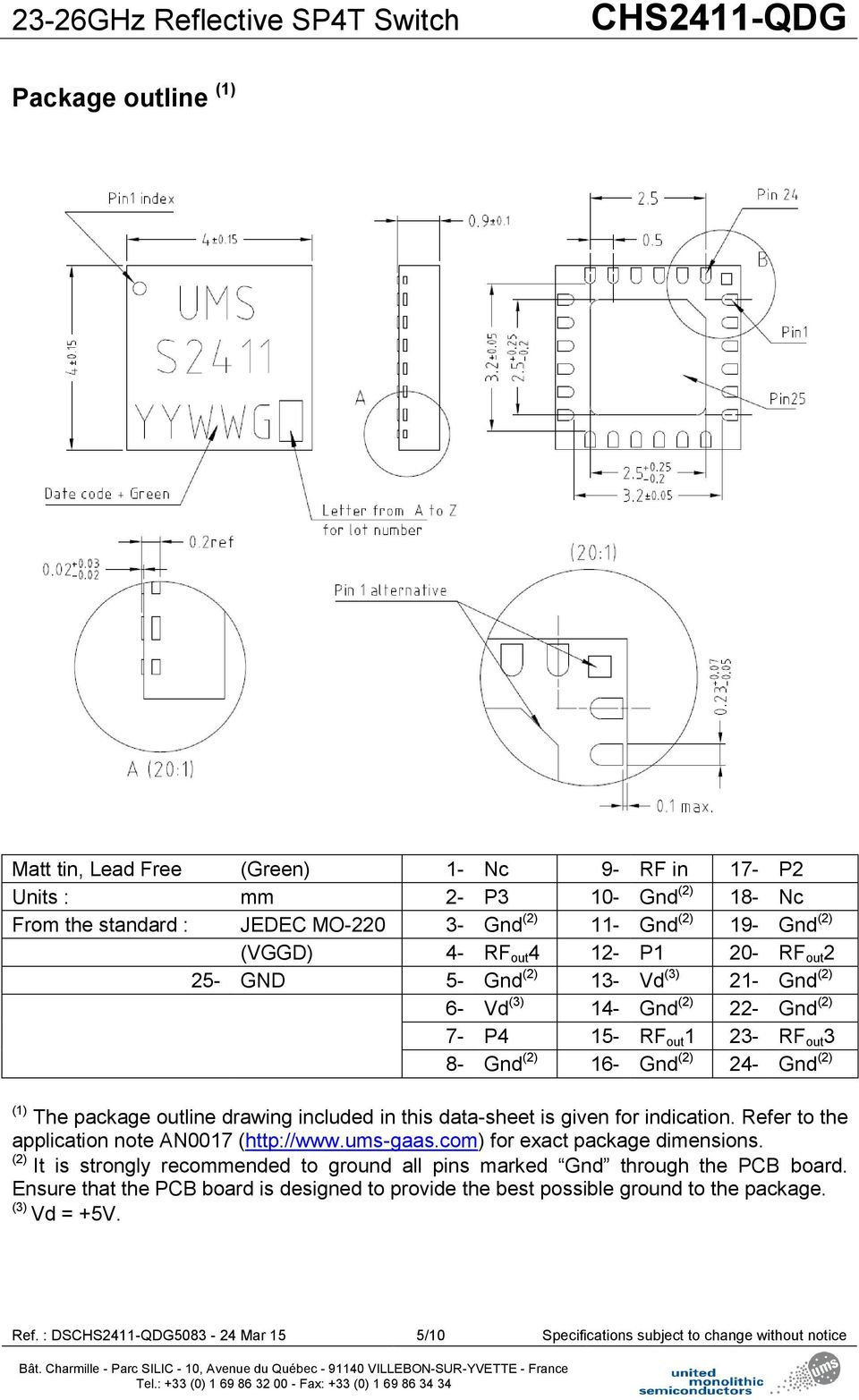 drawing included in this data-sheet is given for indication. Refer to the application note AN0017 (http://www.ums-gaas.com) for exact package dimensions.