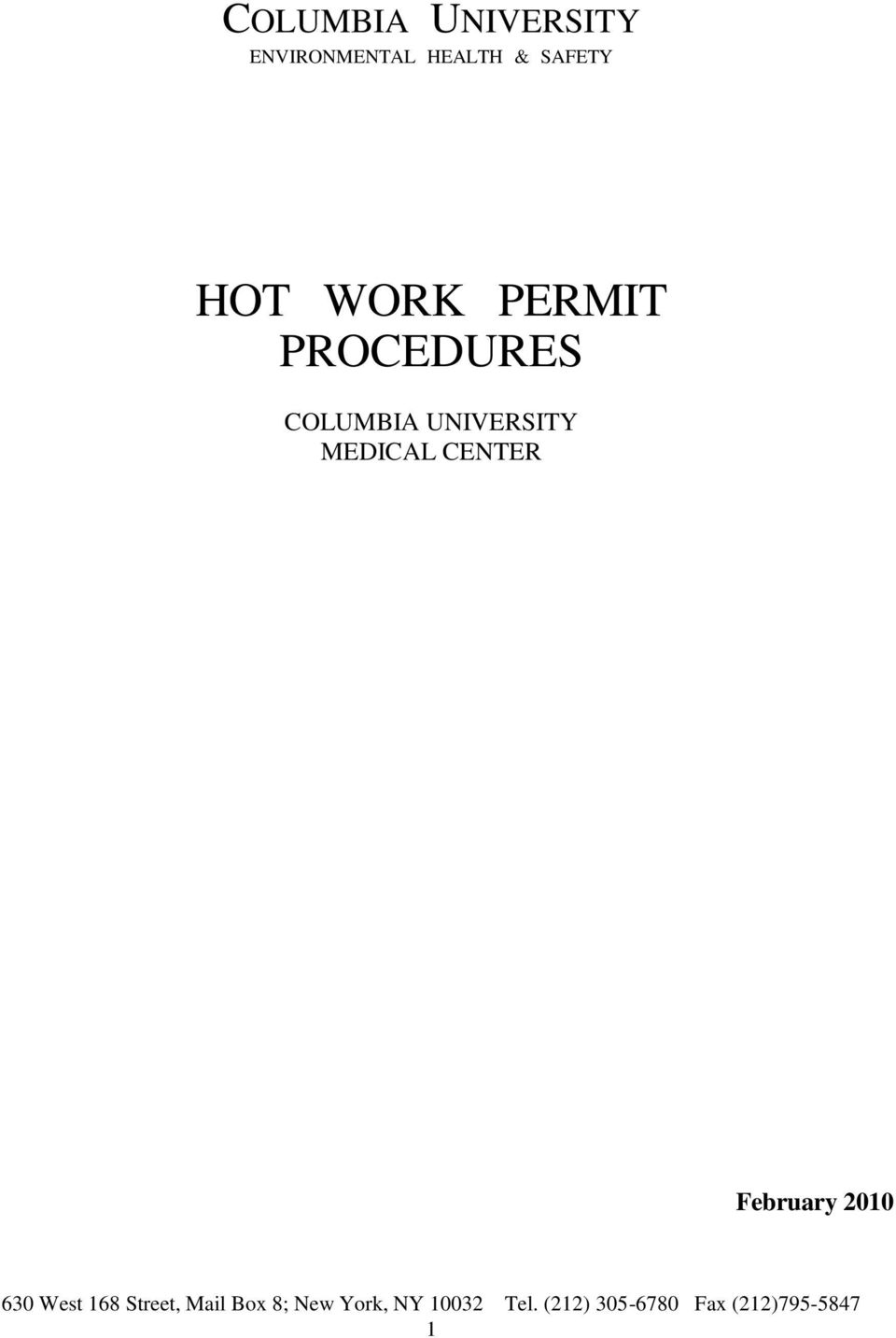 HOT WORK PERMIT PROCEDURES