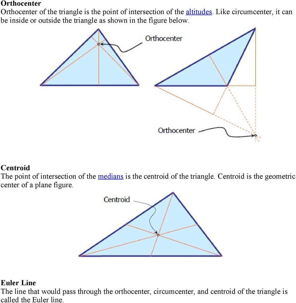 Centroid The point of intersection of the medians is the centroid of the triangle.