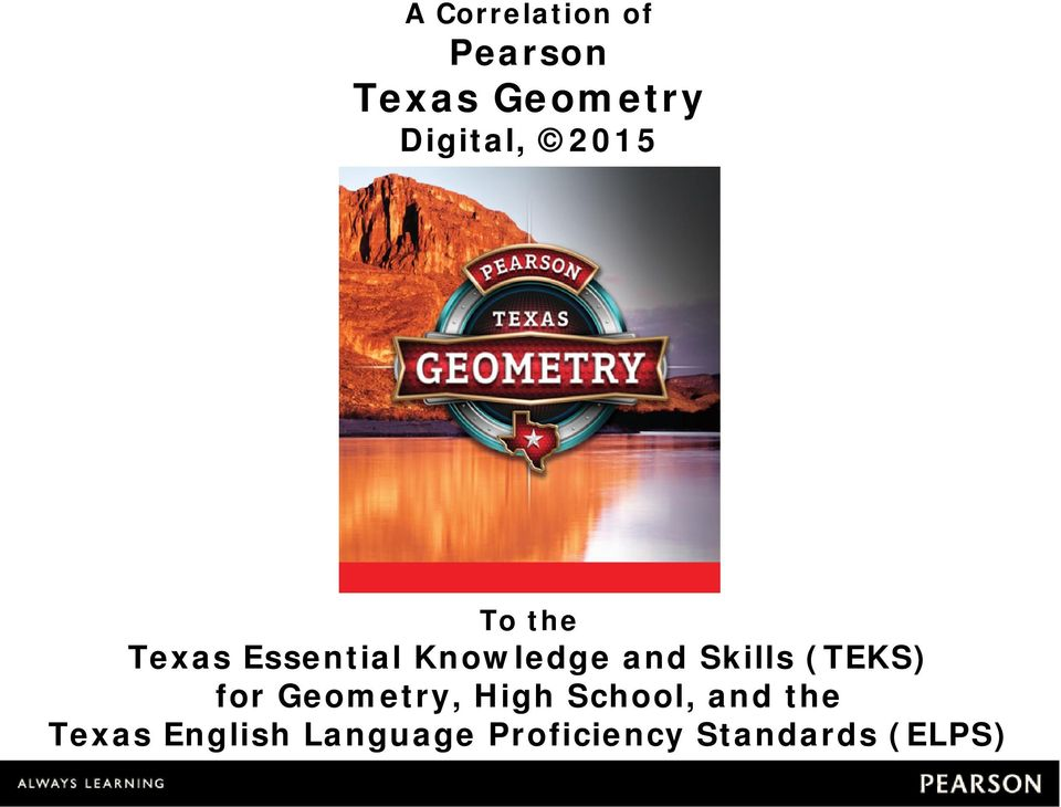 and Skills (TEKS) for Geometry, High School,