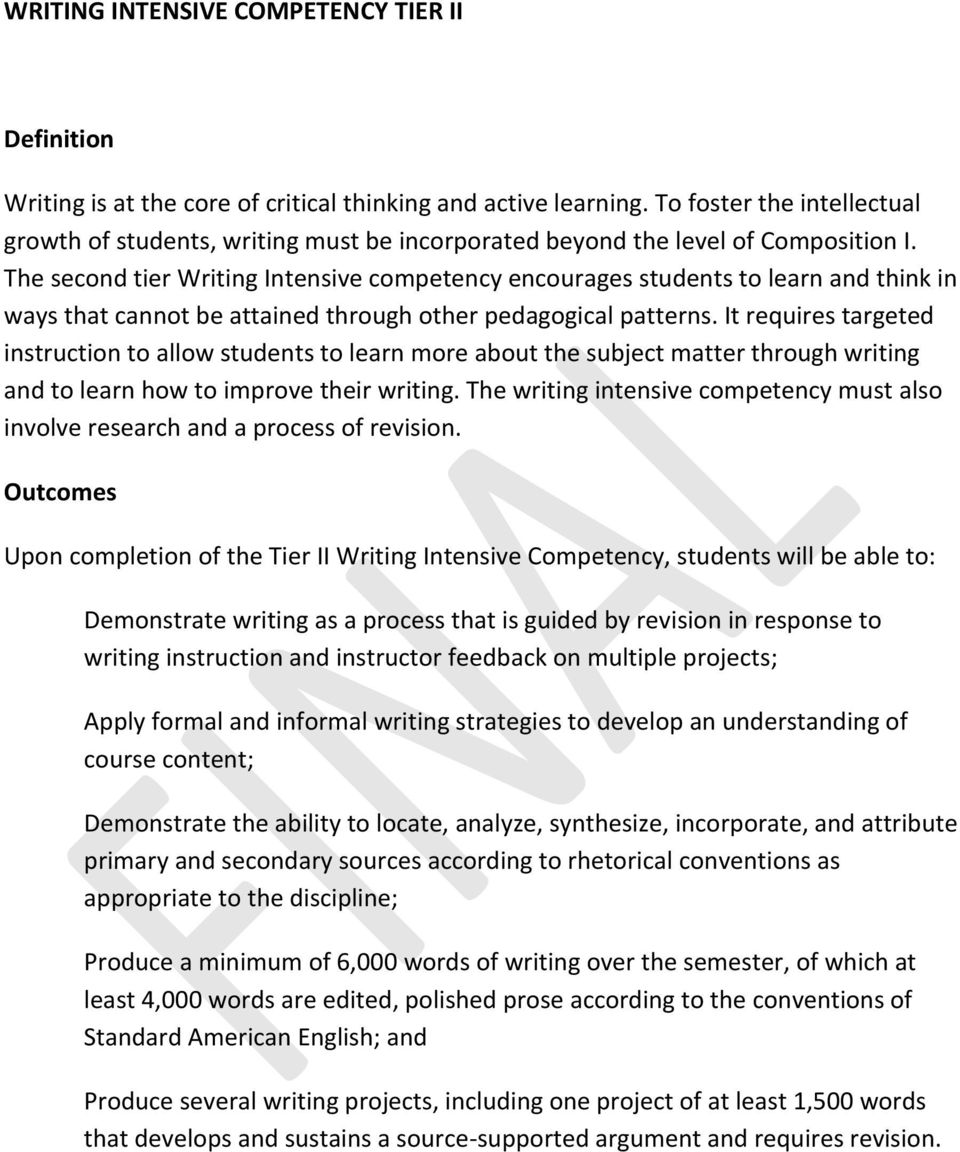 The second tier Writing Intensive competency encourages students to learn and think in ways that cannot be attained through other pedagogical patterns.