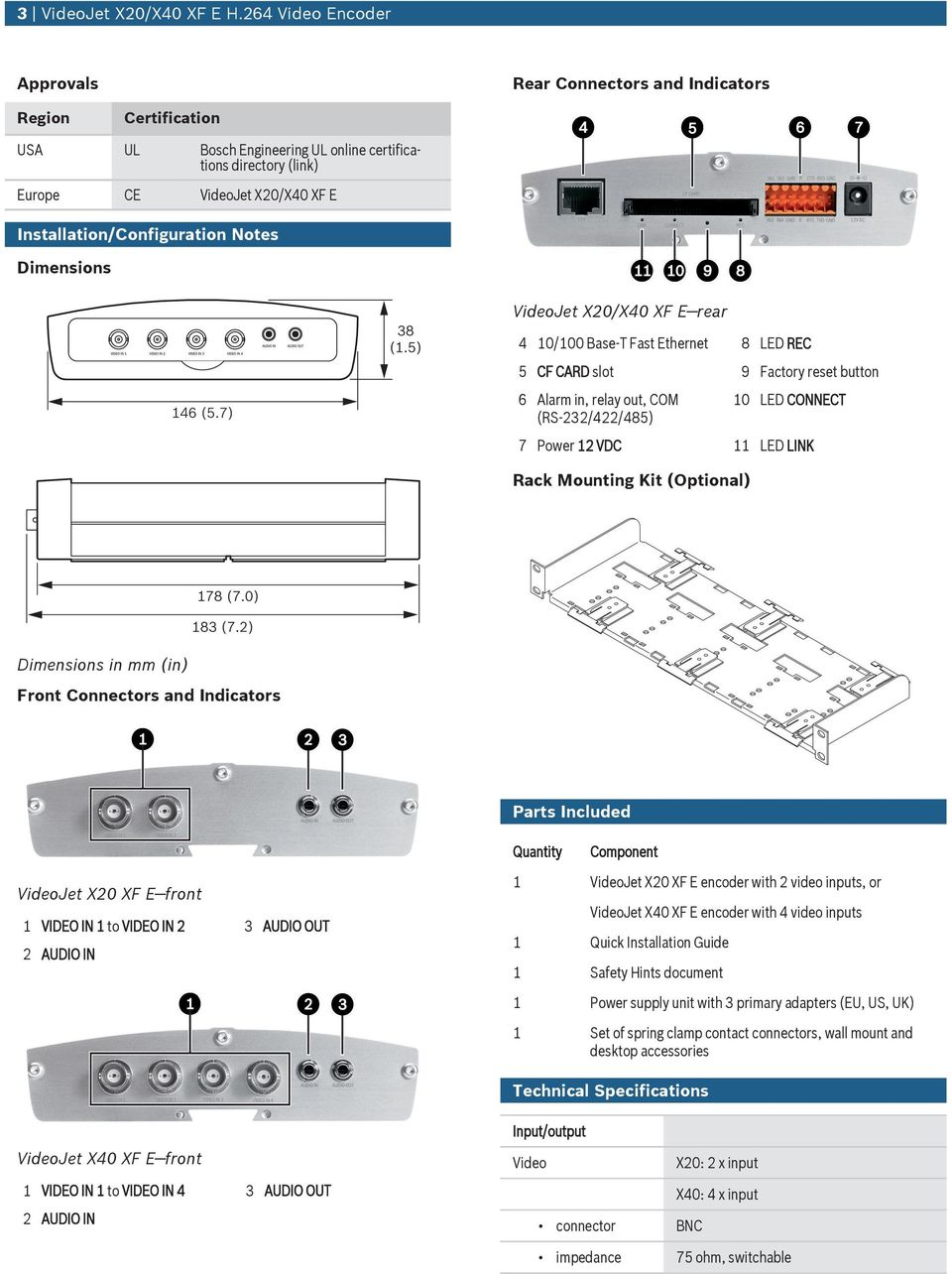 Notes Dimensions VideoJet X20/X40 XF E rear 4 10/100 Base-T Fast Ethernet 8 LED REC 5 CF CARD slot 9 Factory reset btton 6 Alarm in, relay ot, COM (RS-232/422/485) 10 LED CONNECT 7 Power 12 VDC 11