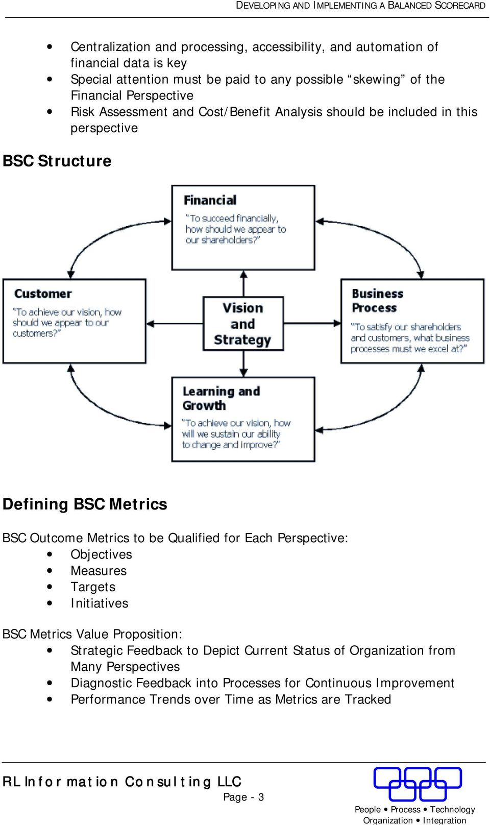 Metrics to be Qualified for Each Perspective: Objectives Measures Targets Initiatives BSC Metrics Value Proposition: Strategic Feedback to Depict Current