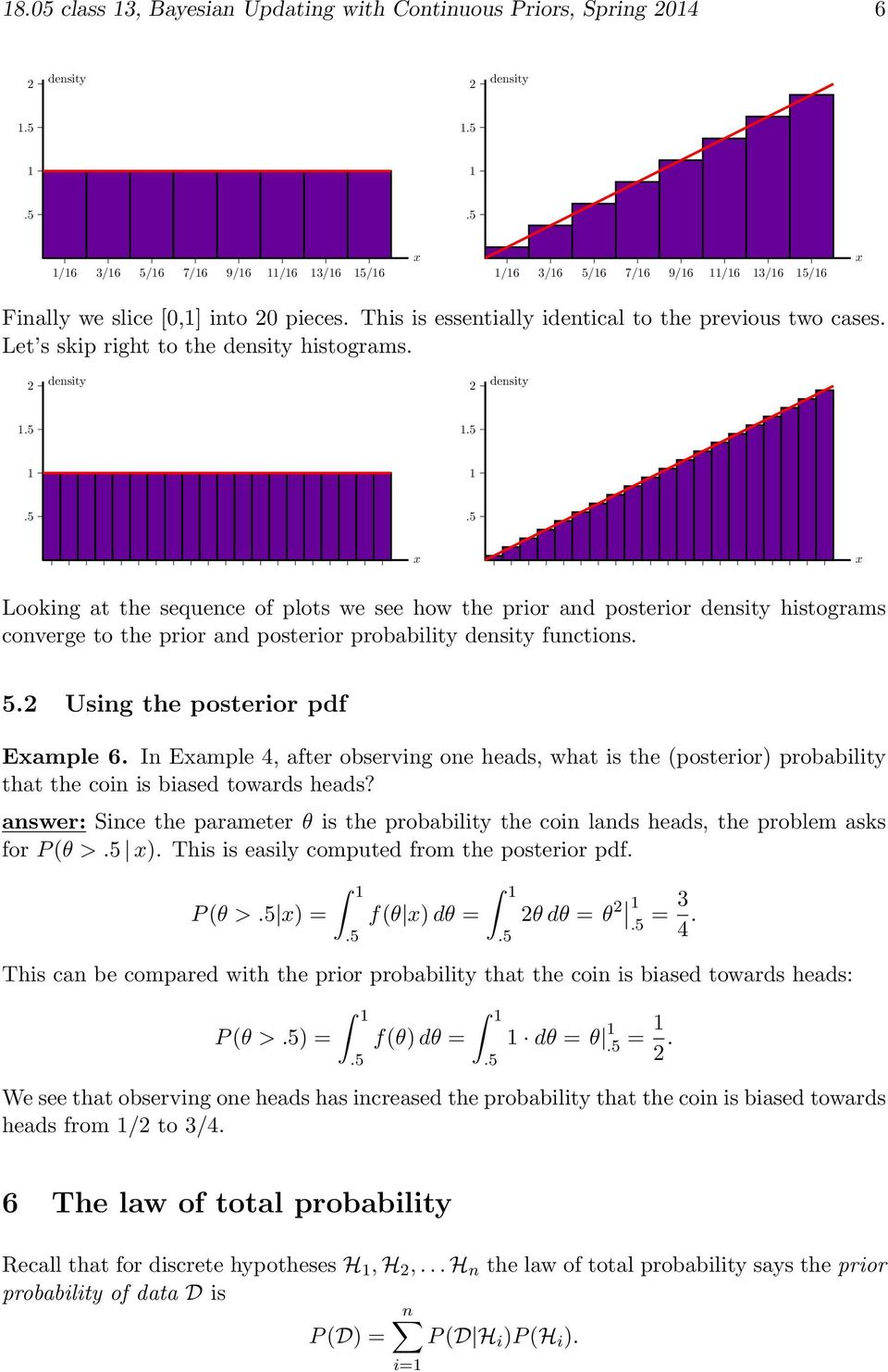 Looking t the sequence of plots we see how the prior nd posterior histogrms converge to the prior nd posterior proility functions. 5. Using the posterior pdf Emple 6.