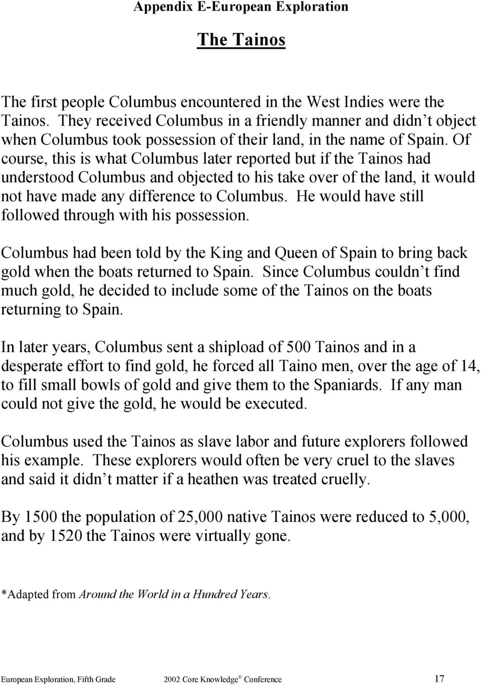 Of course, this is what Columbus later reported but if the Tainos had understood Columbus and objected to his take over of the land, it would not have made any difference to Columbus.