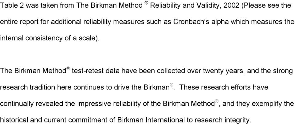 The Birkman Method test-retest data have been collected over twenty years, and the strong research tradition here continues to drive the