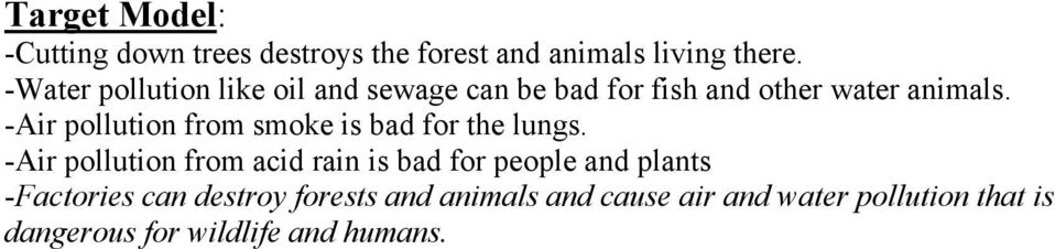 destroy forests and animals and cause air and