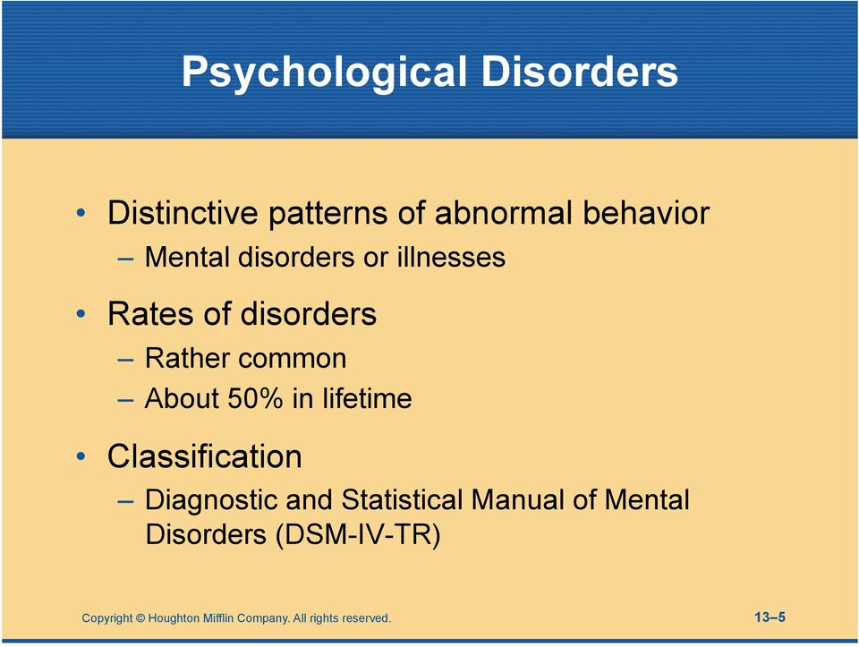 lifetime Classification Diagnostic and Statistical Manual of Mental