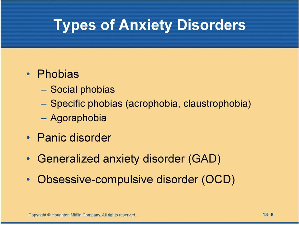 Generalized anxiety disorder (GAD) Obsessive-compulsive