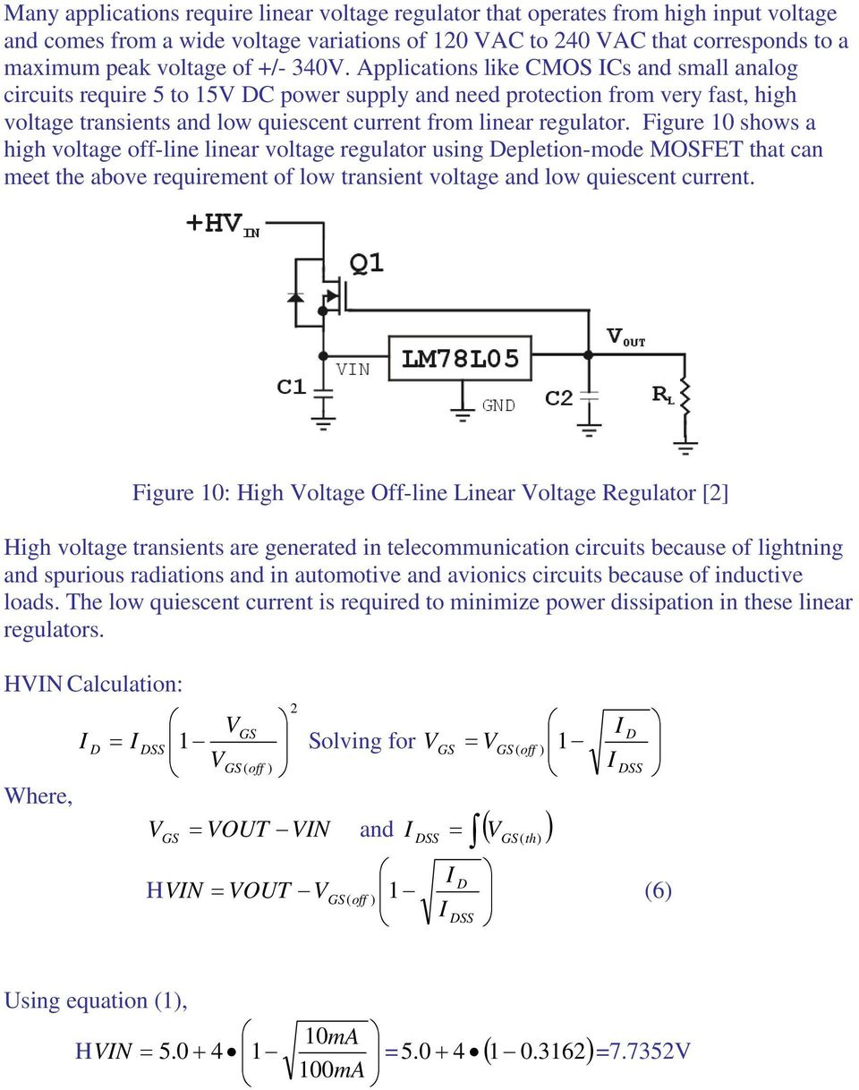 Depletion Mode Power Mosfets And Applications Abdus Sattar Ixys Mosfet Current Limiting Circuit Linear Voltage Regulator Like Cmos Cs Small Analog Circuits Require 5 To 5v C Supply