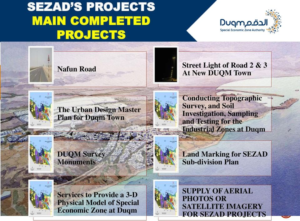for the Industrial Zones at Duqm DUQM Survey Monuments Land Marking for SEZAD Sub-division Plan Services to