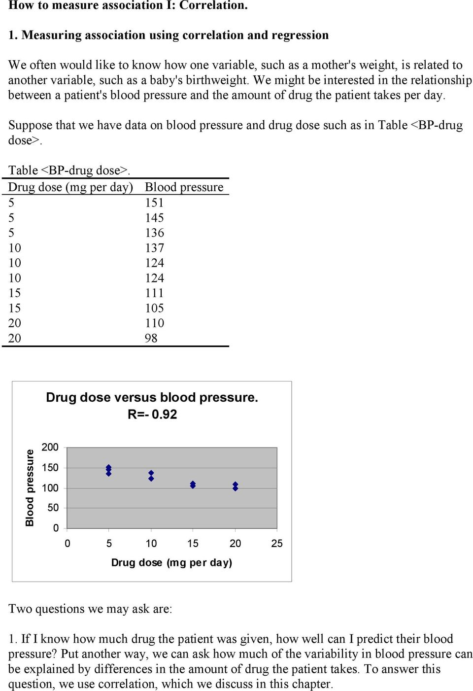 We mght be nterested n the relatonshp between a patent's blood pressure and the amount of drug the patent takes per day.