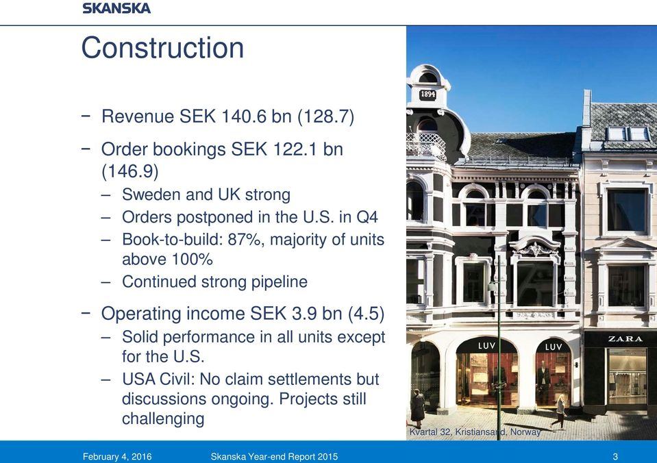 9 bn (4.5) Solid performance in all units except for the U.S. USA Civil: No claim settlements but discussions ongoing.