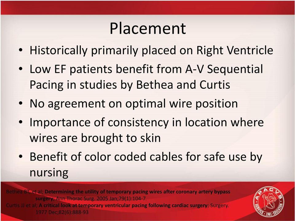 safe use by nursing Bethea BT, et al; Determining the utility of temporary pacing wires after coronary artery bypass surgery; Ann Thorac Surg.