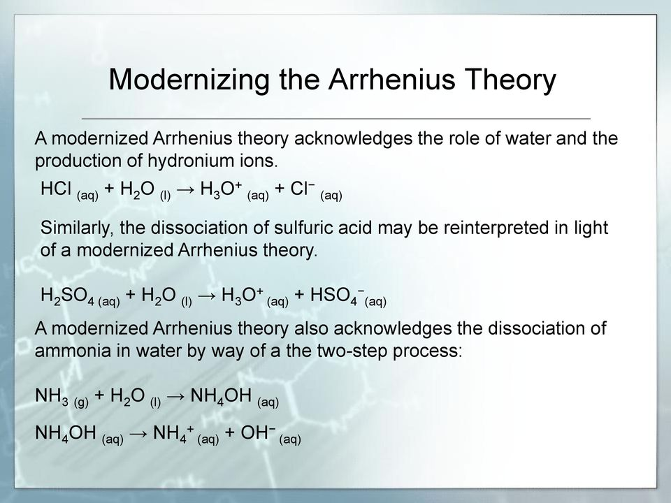modernized Arrhenius theory.