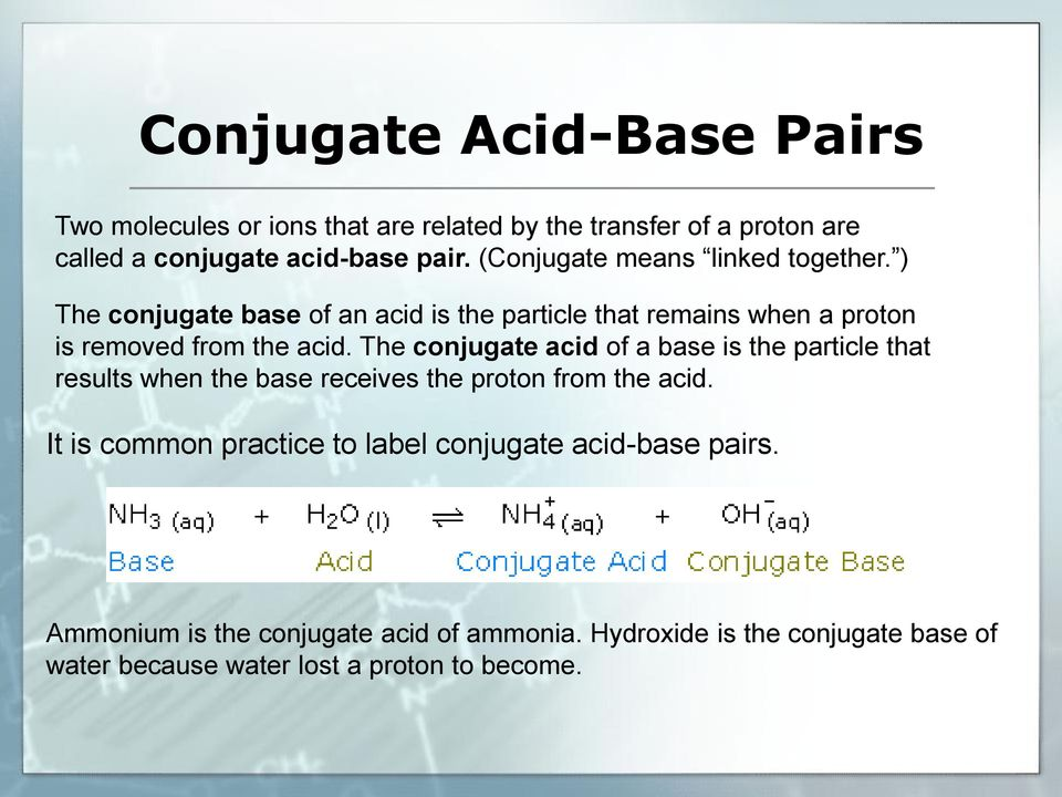 The conjugate acid of a base is the particle that results when the base receives the proton from the acid.