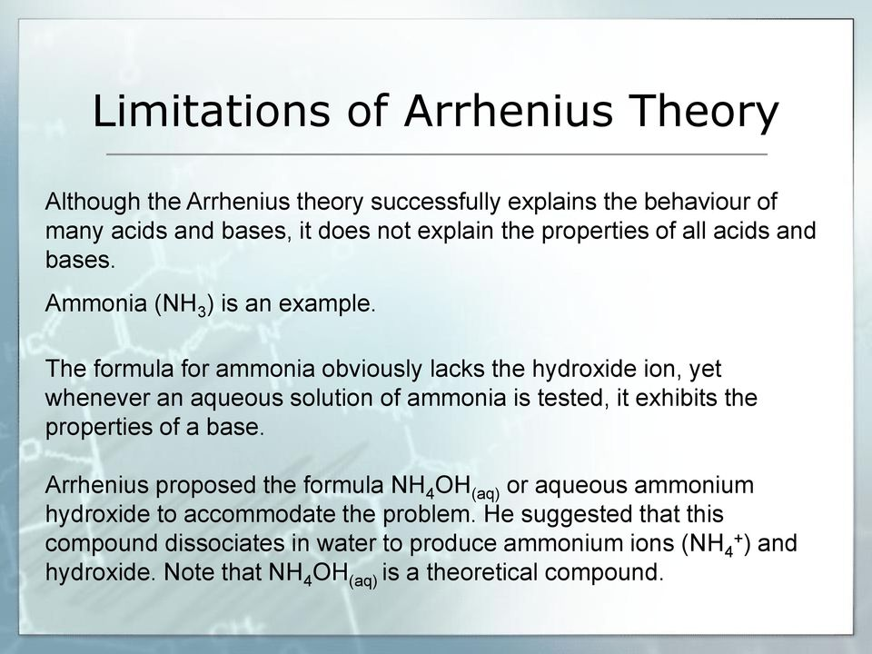 The formula for ammonia obviously lacks the hydroxide ion, yet whenever an aqueous solution of ammonia is tested, it exhibits the properties of a base.