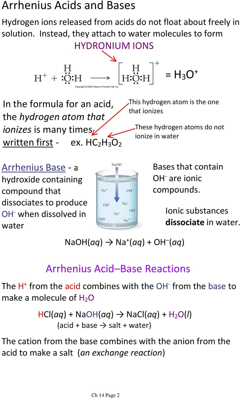 HC 2 H 3 O 2 This hydrogen atom is the one that ionizes These hydrogen atoms do not ionize in water Arrhenius Base-a hydroxide containing compound that dissociates to produce OH - when dissolved in