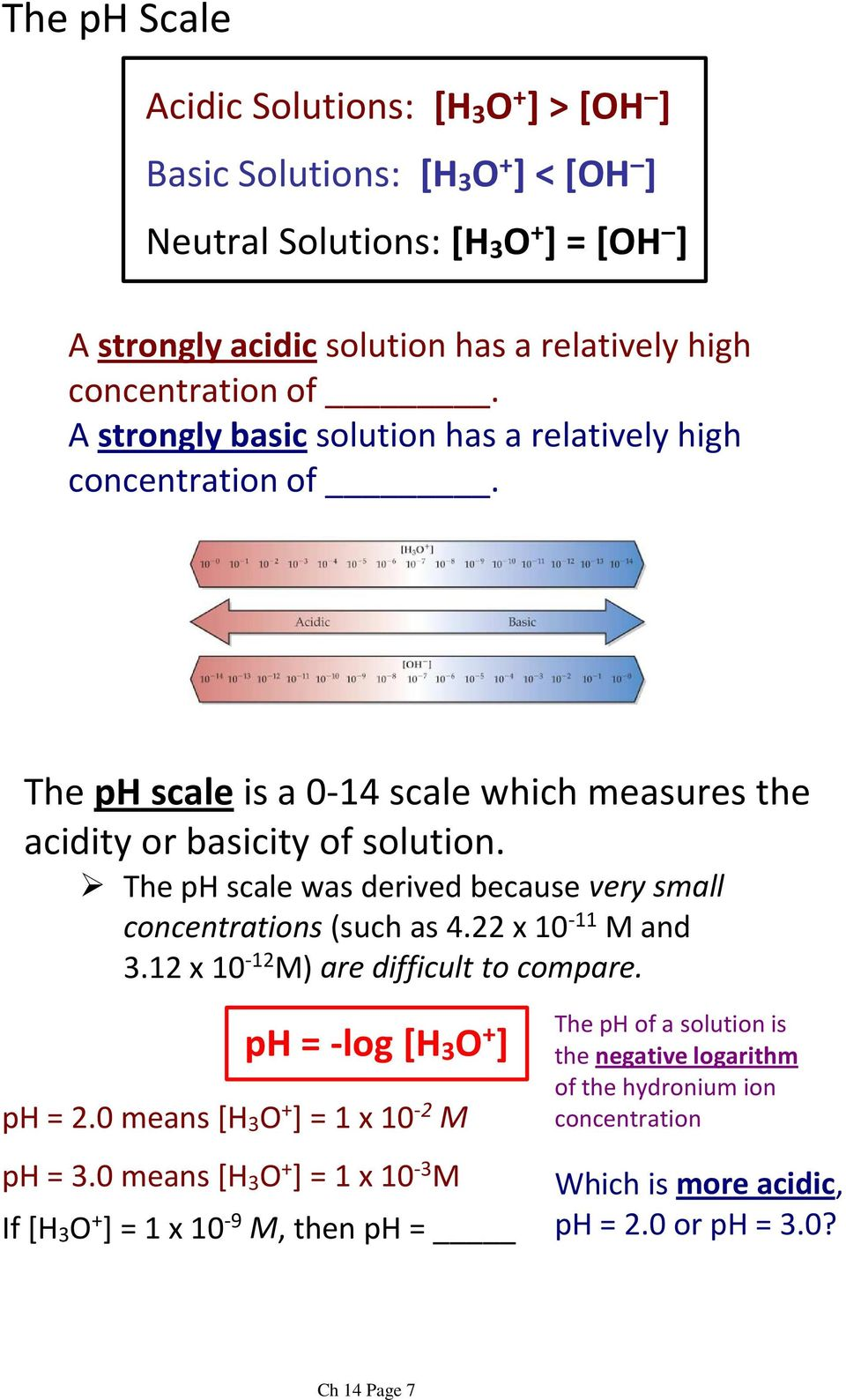 The ph scale was derived because very small concentrations(such as 4.22 x 10-11 M and 3.12 x 10-12 M) are difficult to compare. ph = -log [H 3 O + ] ph = 2.