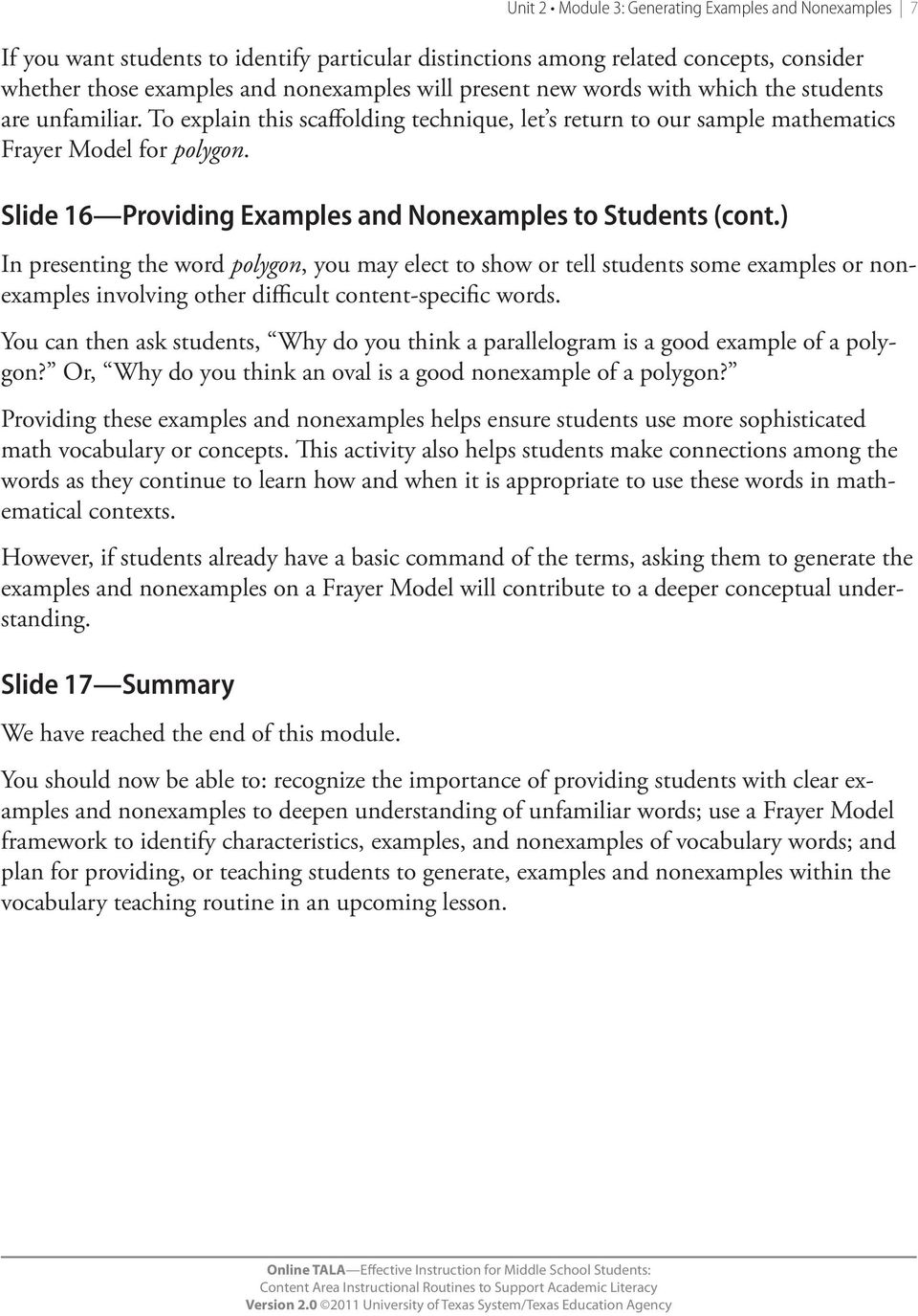 Slide 16 Providing Examples and Nonexamples to Students (cont.