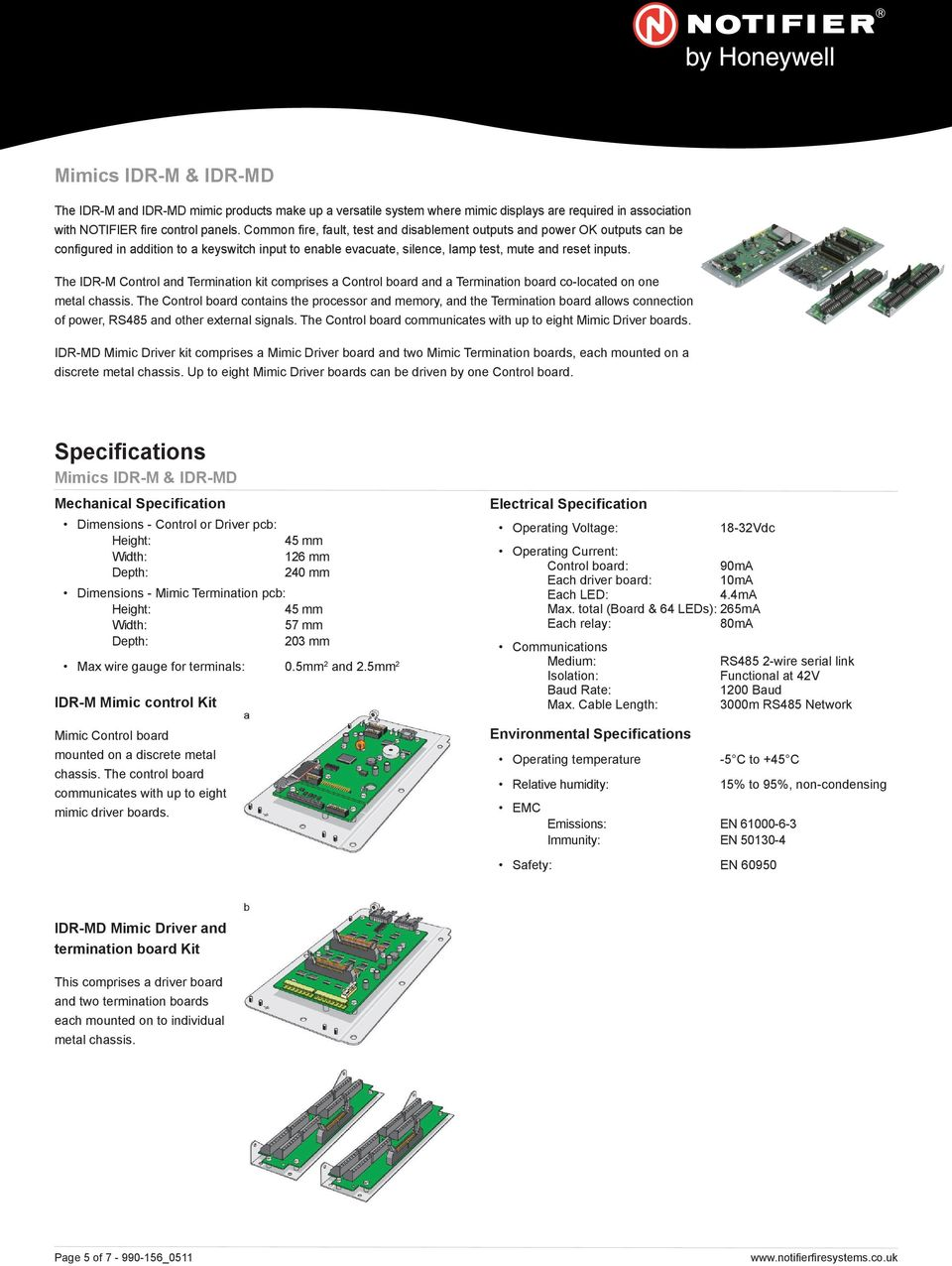 The IDR-M Control and Termination kit comprises a Control board and a Termination board co-located on one metal chassis.