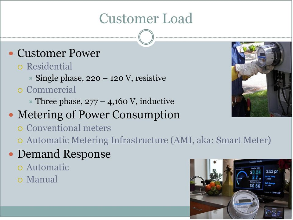 of Power Consumption Conventional meters Automatic Metering