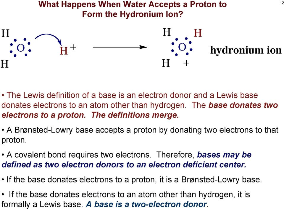 The base donates two electrons to a proton. The definitions merge. A Brønsted-Lowry base accepts a proton by donating two electrons to that proton.