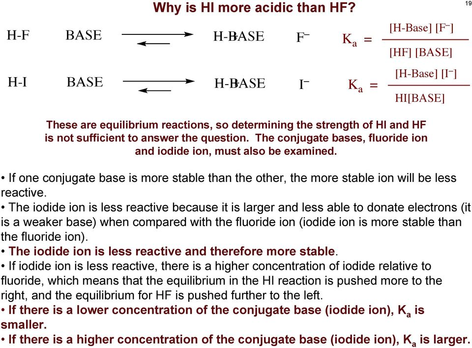 question. The conjugate bases, fluoride ion and iodide ion, must also be examined. If one conjugate base is more stable than the other, the more stable ion will be less reactive.