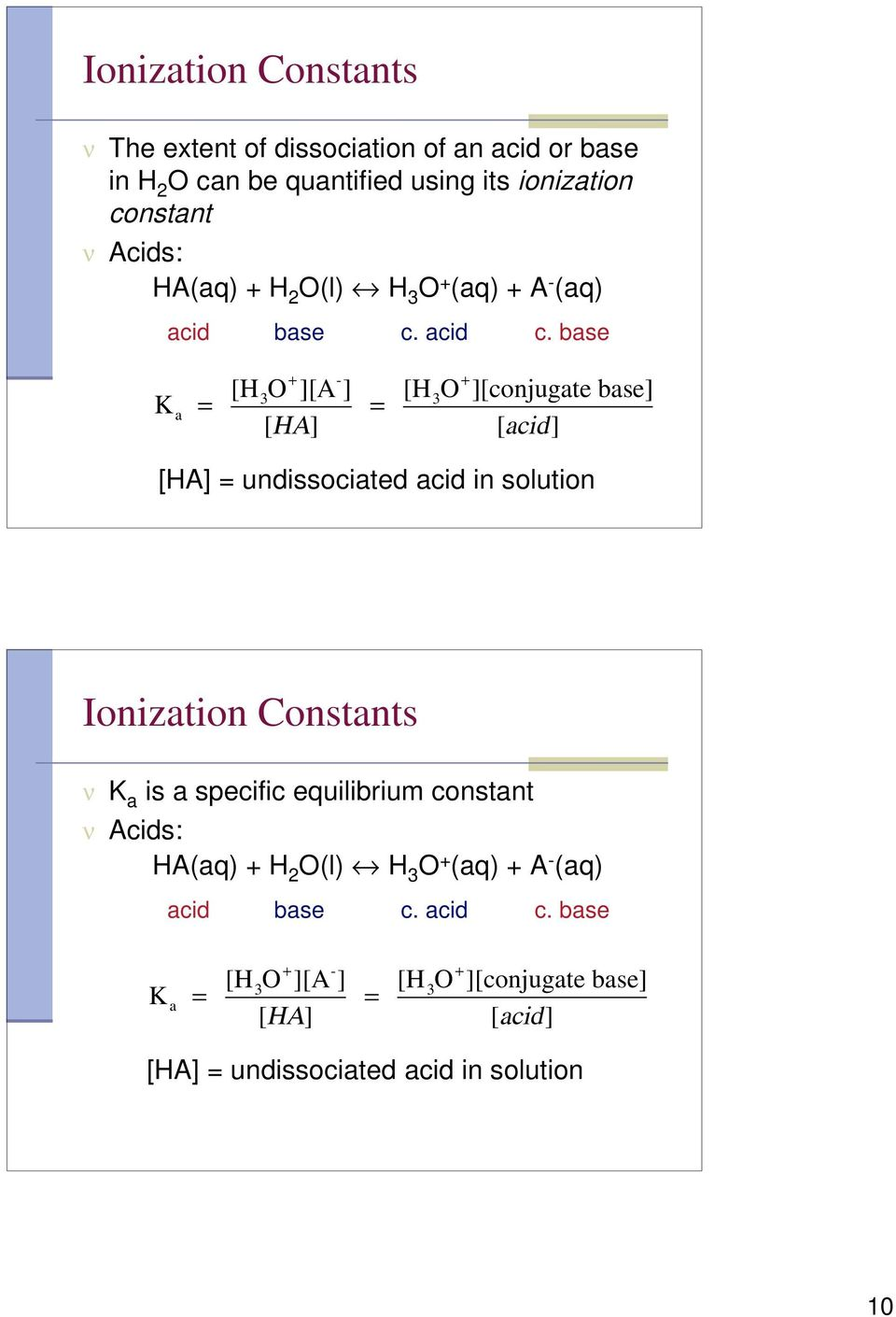 base K a = [H 3O + ][A - ] [HA] = [H 3O + ][conjugate base] [acid] [HA] = undissociated acid in solution Ionization Constants ν K a is